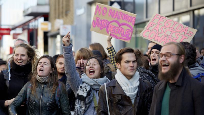 Demonstratie Pegida tegen de huidige vluchtelingenstroom